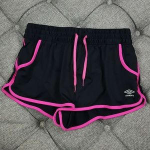 Umbro Black & Pink Athletic Running Shorts Medium